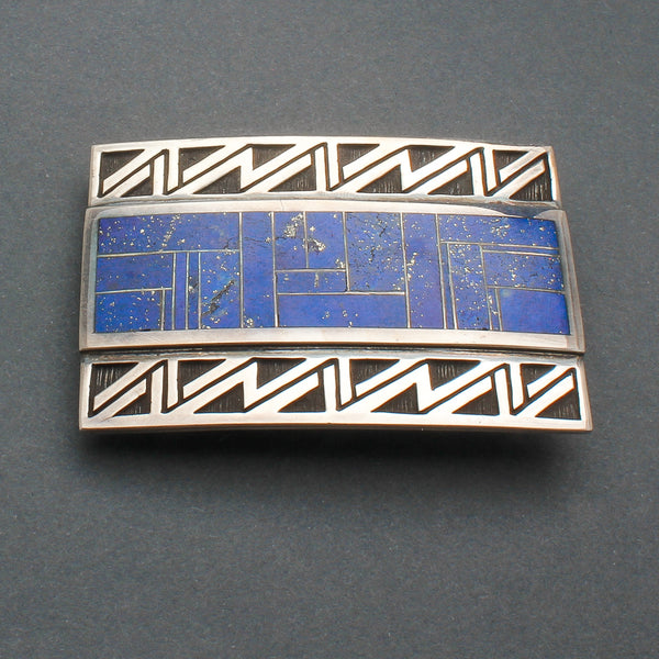 Contemporary Navajo Lightning Buckle With Inlay Lapis