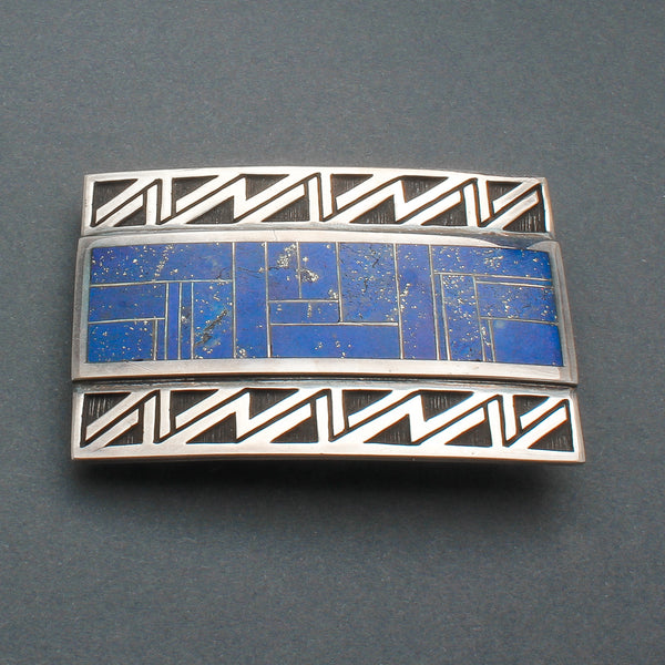 Contemporary Navajo Overlay Buckle With Inlay Lapis