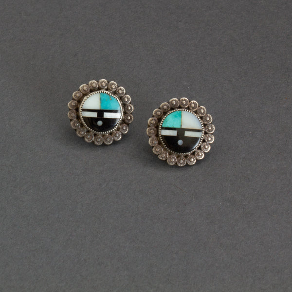 Vintage Zuni Inlay Sunface Earrings
