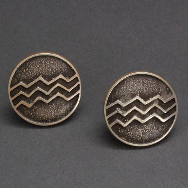 Larry Golsh Silver Tufa Cast Earrings