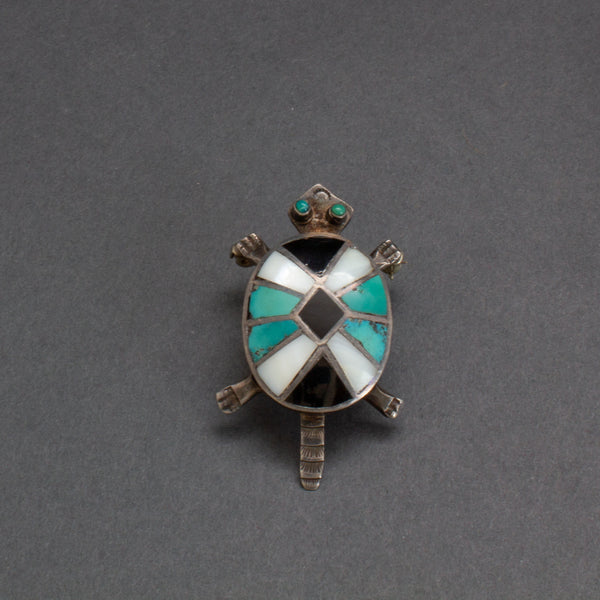 Vintage Zuni Channel Inlay Turtle Brooch