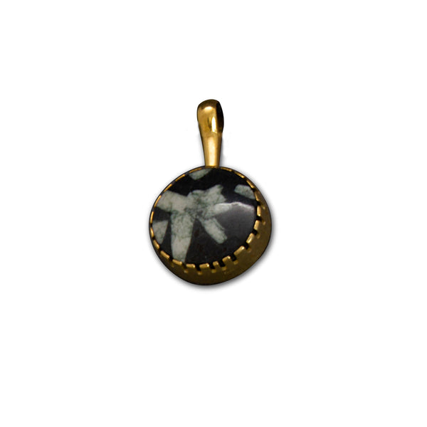 Yazzie Johnson and Gail Bird Pendant of 18kt Gold and Writing Rock Jasper