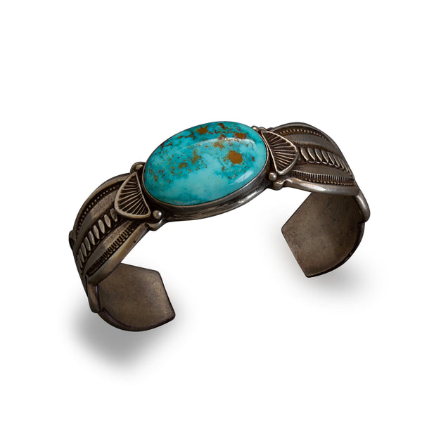 Vintage Navajo Harry H. Begay Turquoise Cuff Bracelet