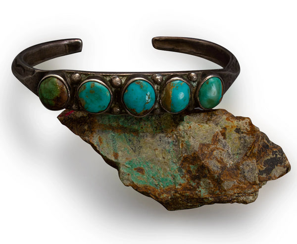 1920's Navajo or Pueblo Row Bracelet With Natural Turquoise