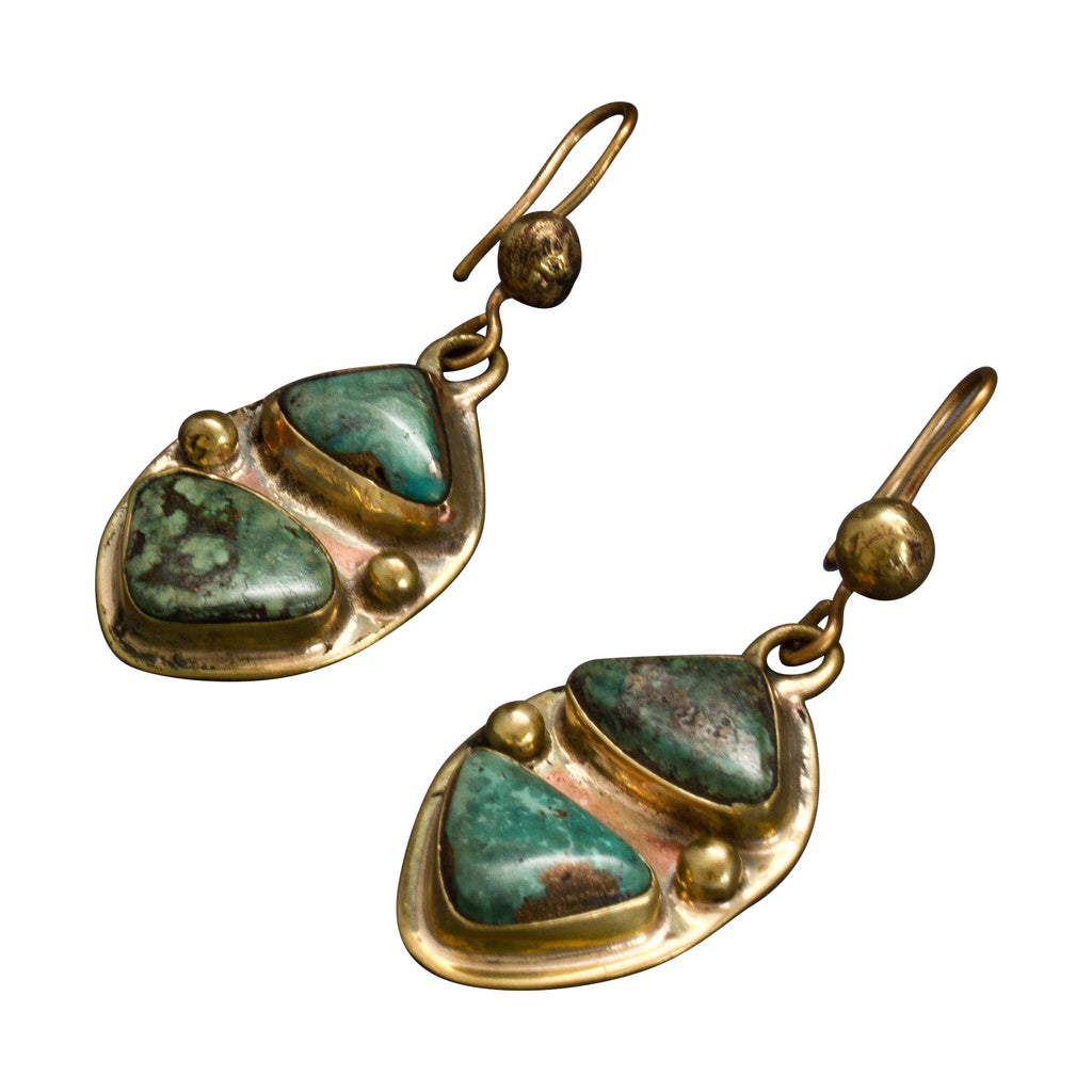 Vintage Tony Aguilar Sr. Turquoise Earrings Set in Brass