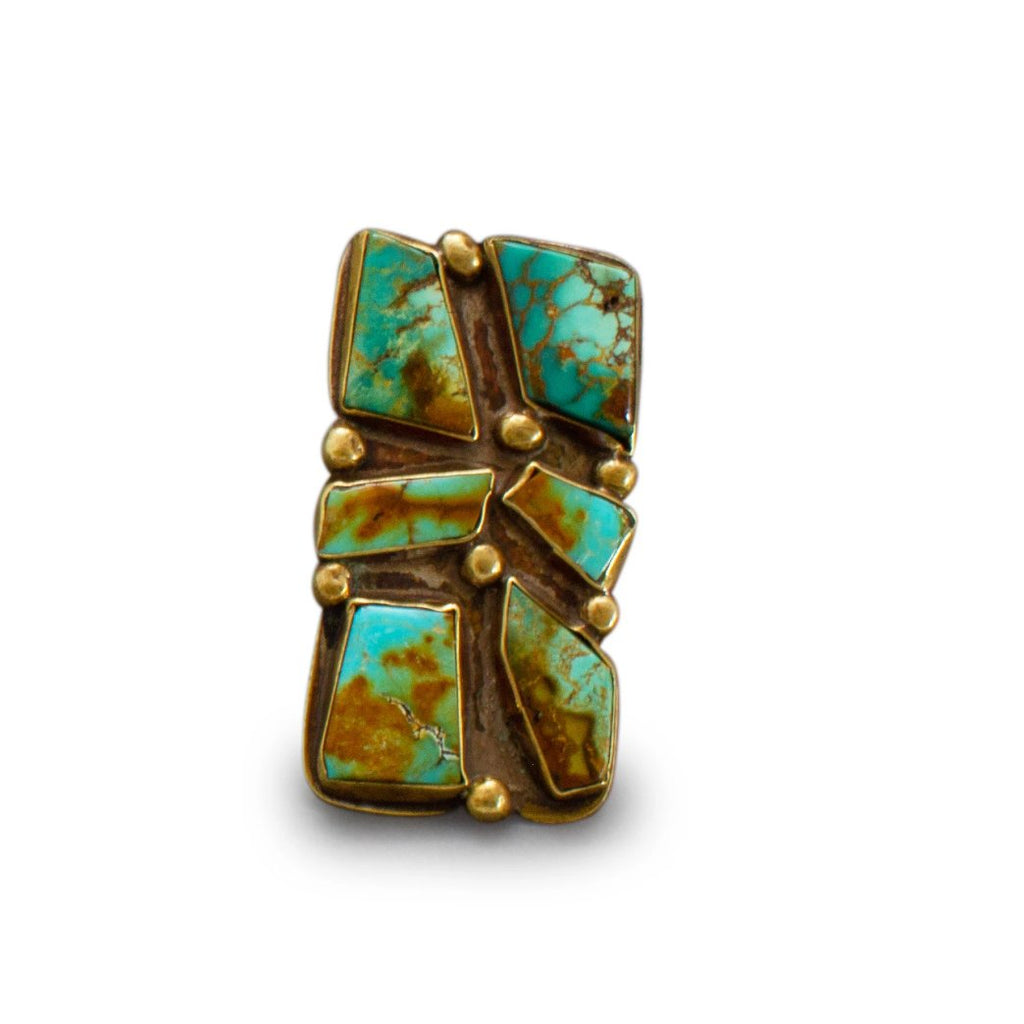 Vintage Turquoise Ring in Brass By Tony Aguilar Sr.