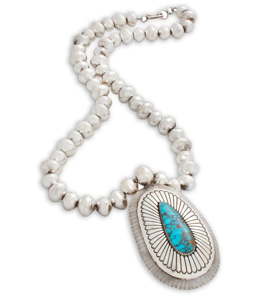 Lee Yazzie Necklace of Sterling Silver Beads and Turquoise Pendant