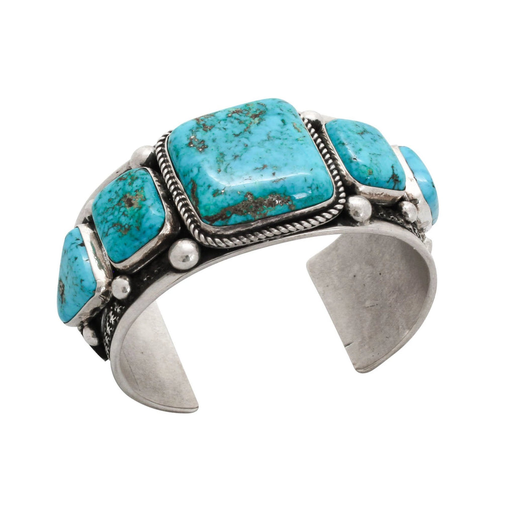 Navajo Turquoise Bracelet by Guy Hoskie Natural Morenci