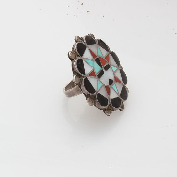 Vintage Zuni Sunface Ring of Inlay Stones Turquoise, Coral and Jet