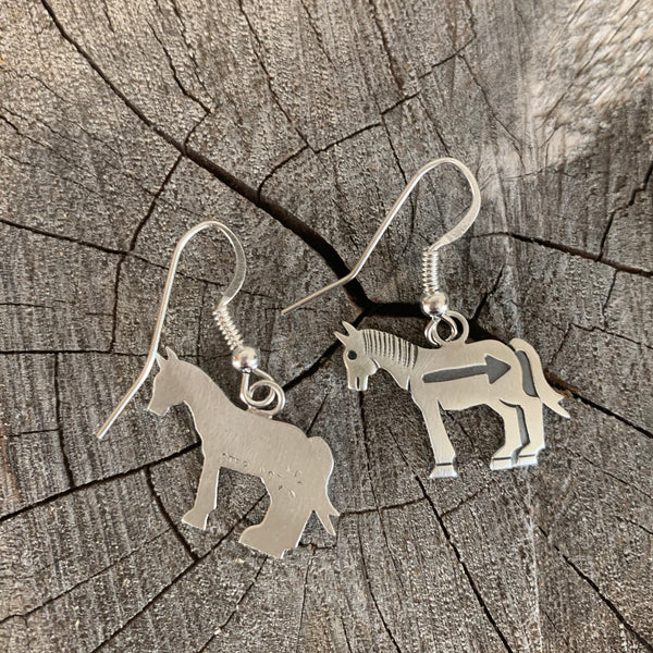 Navajo Silver Overlay Earrings of Horse With Arrow by Irvin Gene