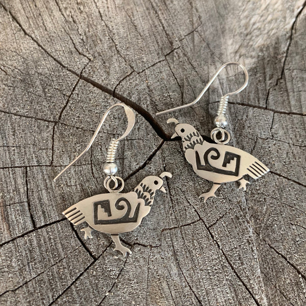 Navajo Overlay Silver Earrings of Quail By Irvin Gene
