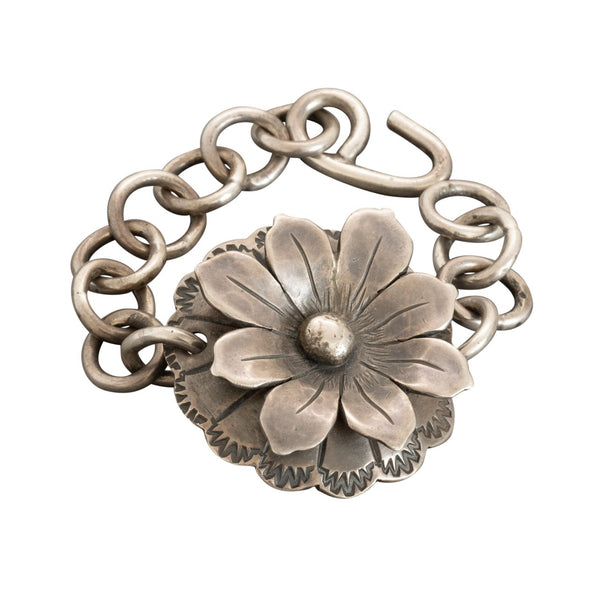 James Faks Sterling Silver Link Bracelet of Flower