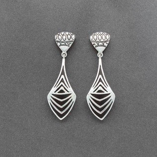 Jared Chavez Earrings of Silver Linear Inlay