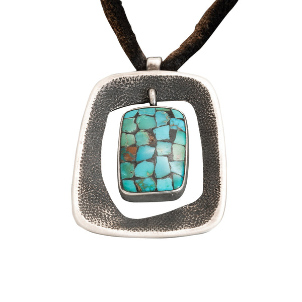Jimmy Herald Pendant Modernist in Style With Turquoise