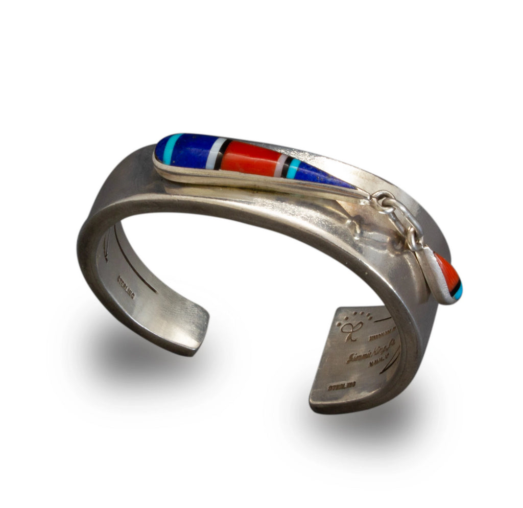 Navajo Jimmie King Jr. Bracelet of Silver With Inlay