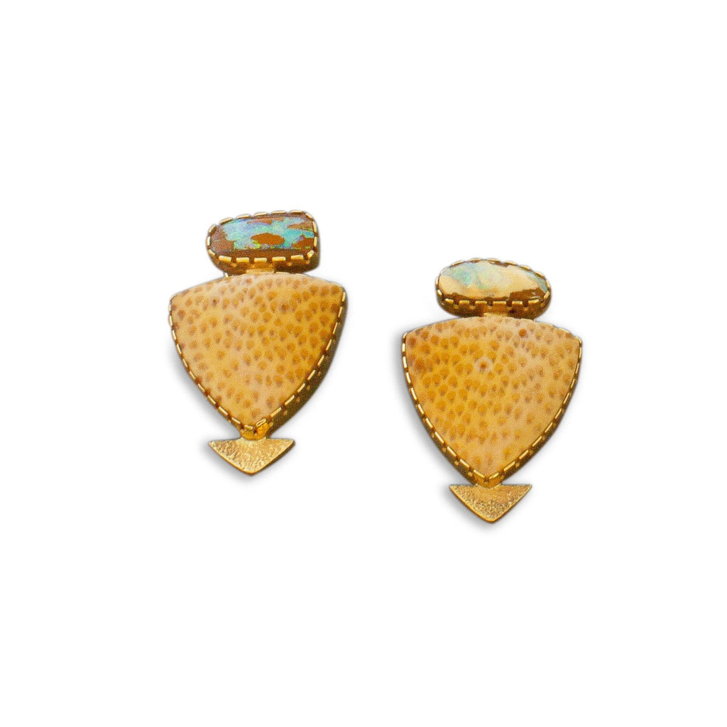 Yazzie Johnson and Gail Bird Earrings of 18kt Gold Palmwood and Opals