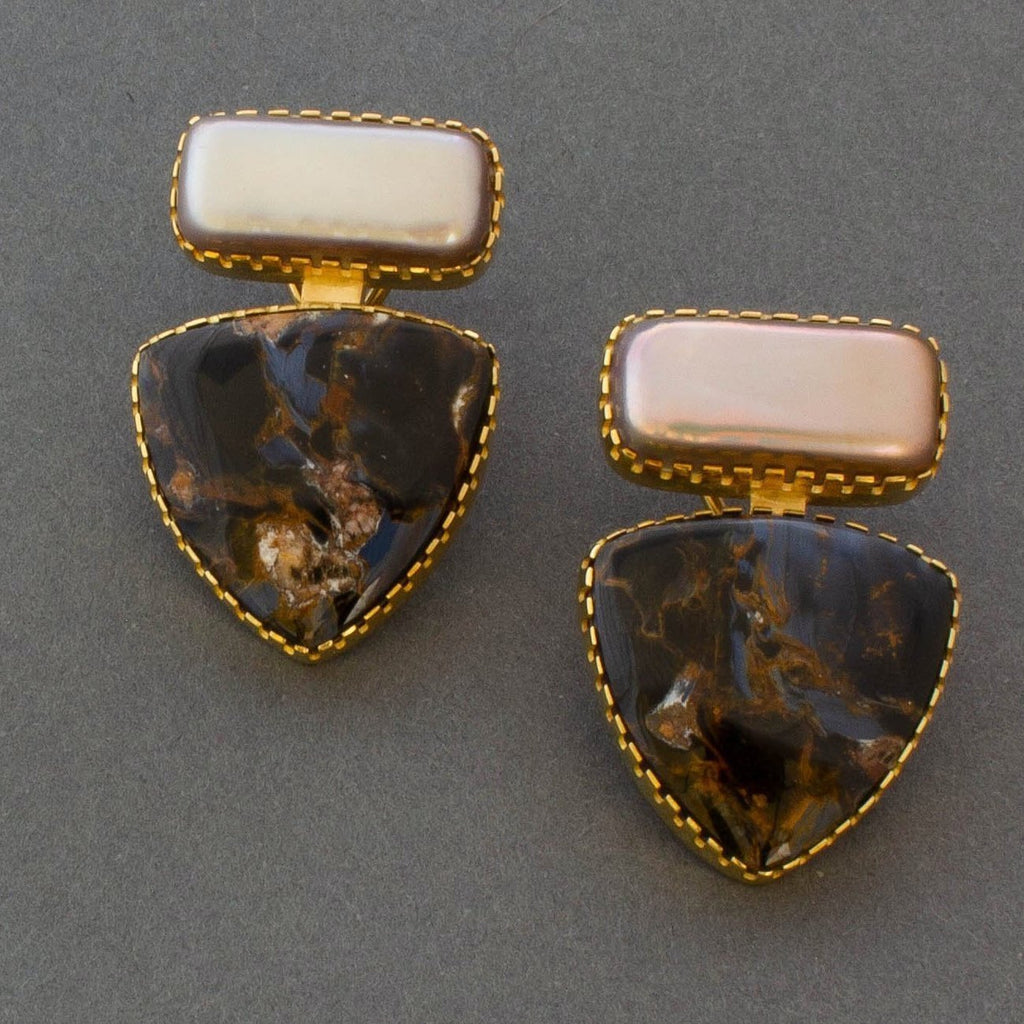 Gail Bird and Yazzie Johnson Earrings of Boulder Opals
