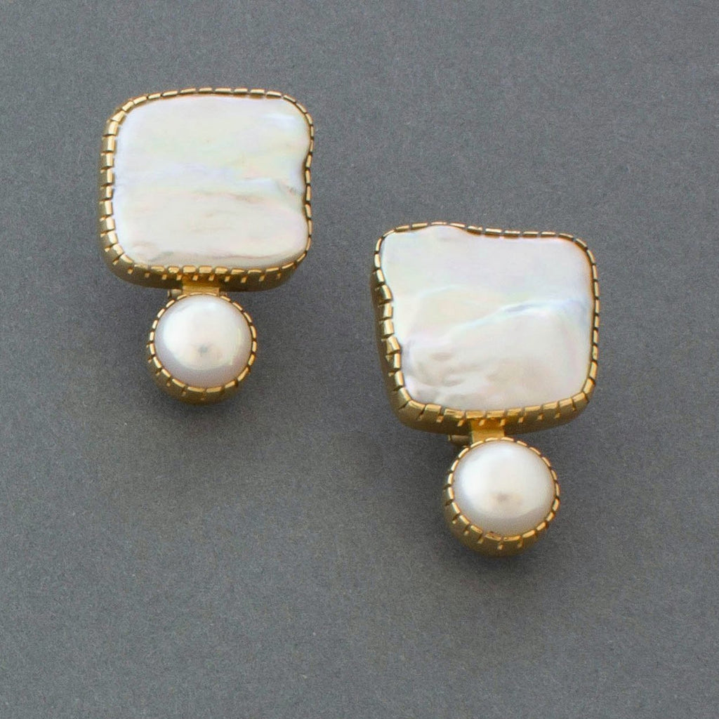 Earrings of 18kt Gold and Pearls By Gail Bird and Yazzie Johnson
