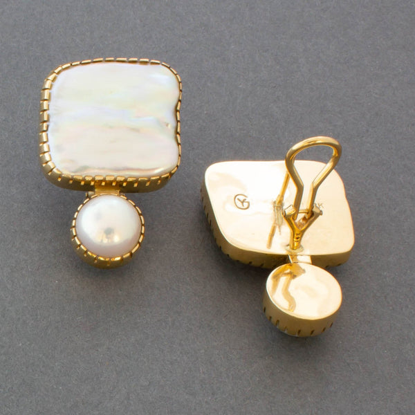 Earrings of 18kt Gold and Pearls By Gail Bird and Yazzie Johnson reverse