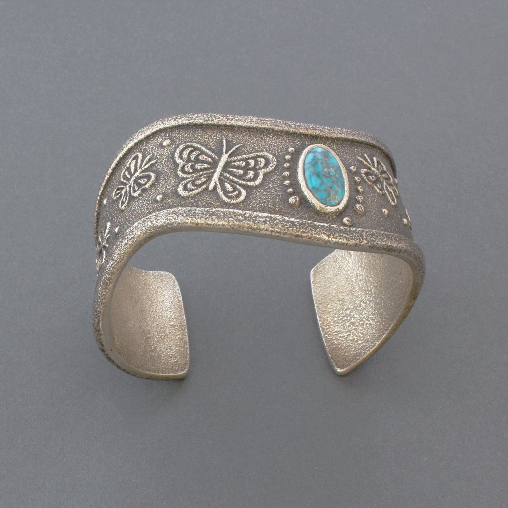 Rebecca Begay Tufa Cast Silver Butterfly Bracelet with Turquoise American Indian Jewelry