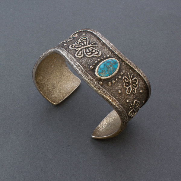 Rebecca Begay Tufa Cast Silver Butterfly Bracelet with Turquoise Navajo American Indian