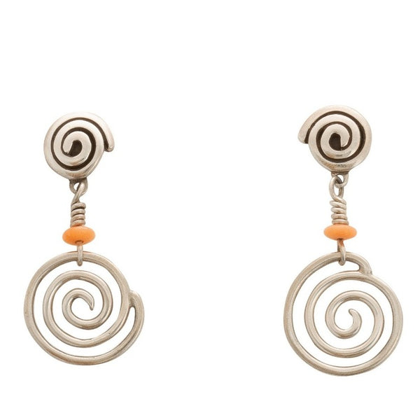 Navajo Kay Begay Rogers Dangle Earrings of Silver Swirls