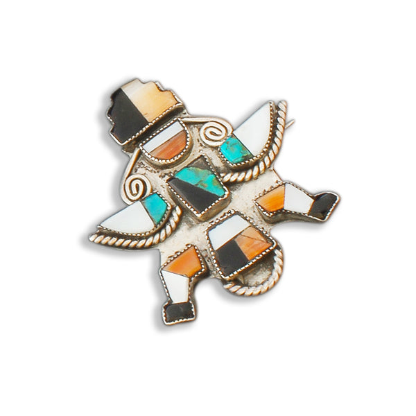 Vintage Zuni Knifewing Brooch of Mosaic Inlay Turquoise, Jet, and Shell