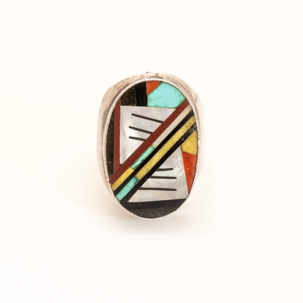 Large Vintage Zuni Inlay Mens Ring Of Multi-Stone Mosaic Inlay Face