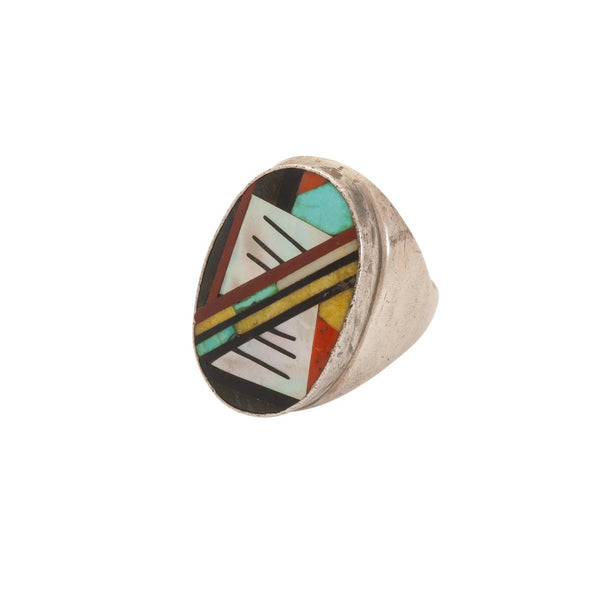 Large Vintage Zuni Inlay Mens Ring Of Multi-Stone Mosaic Inlay