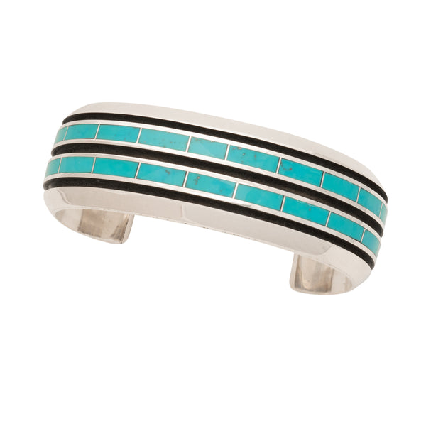 Larry Loretto Bracelet of Turquoise Channel Inlay