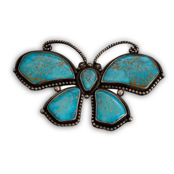 Navajo Butterfly Brooch of Fine Natural Turquoise By Liz Wallace