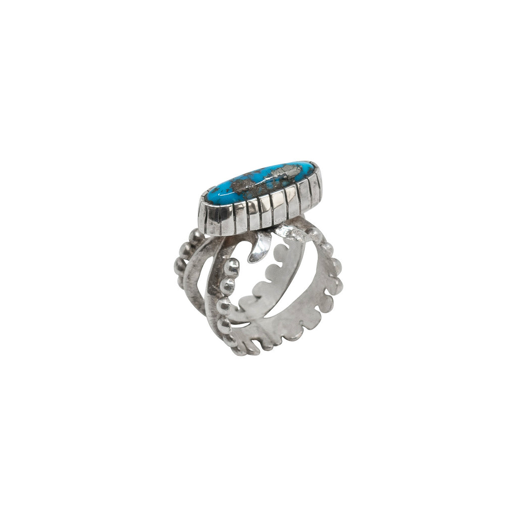 Lorenzo Shirley Ring of Morenci Turquoise