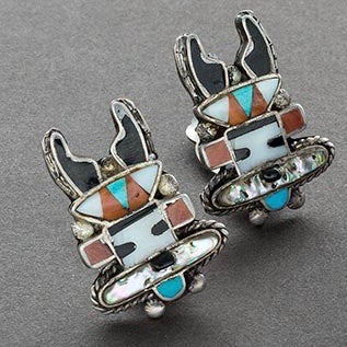Vintage Zuni Antelope Katsina Earrings