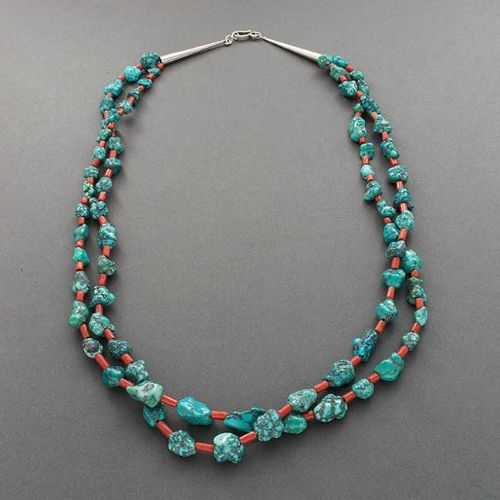 Vintage Navajo or Pueblo Necklace of Natural Turquoise and Coral Pump Drilled