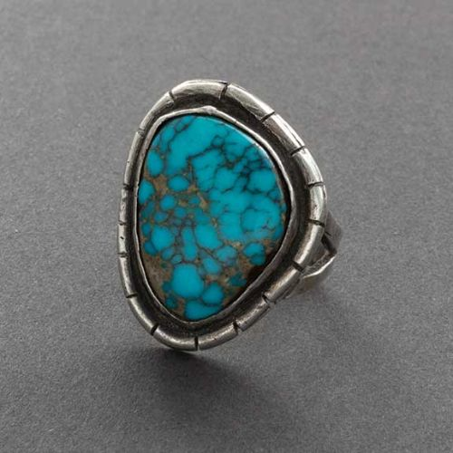 Vintage Navajo or Pueblo Ring with Fine Natural Spider Web Turquoise