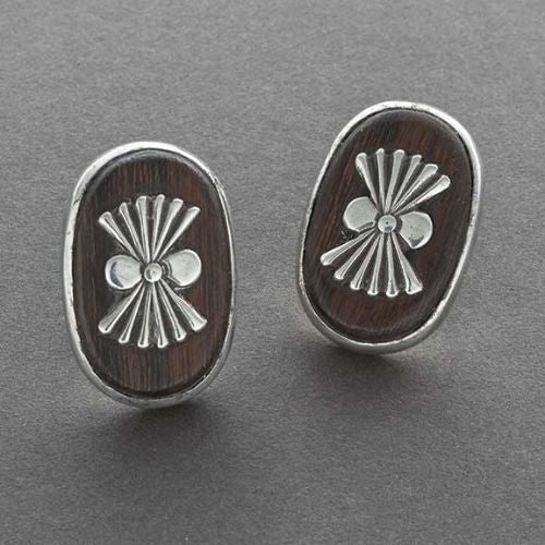 Modernist Ironwood and Silver Earrings By Allen Kee White Hogan