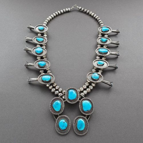 Vintage Squash Blossom Necklace of Silver and Turquoise