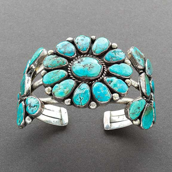 Vintage Navajo Cluster Bracelet of Silver and Turquoise