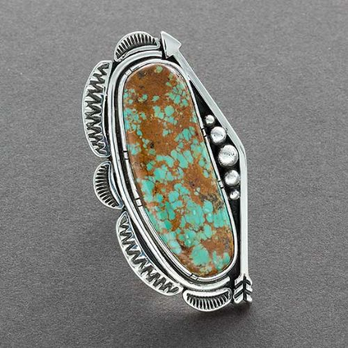 Navajo Ring with Elongated Turquoise Stone and Silver Arrow