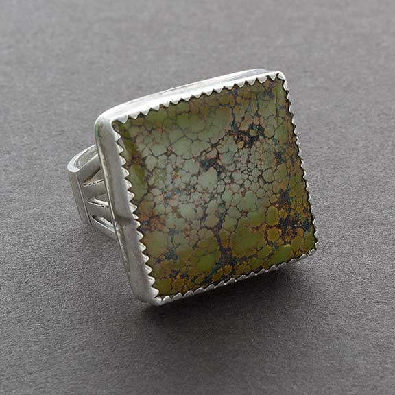 Vintage Navajo Ring of Green Turquoise Square Set in Silver