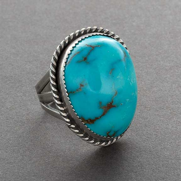 Vintage Navajo Robin's Egg Ring With Domed Turquoise Stone
