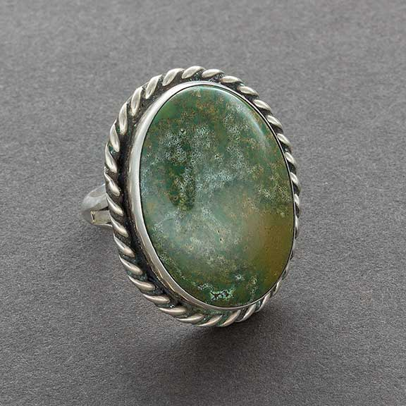 Vintage Navajo Ring of Green Stone Possibly Jasper