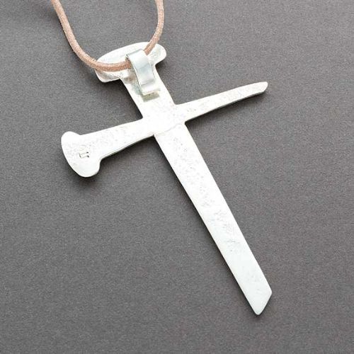 Navajo Ira Custer Silver Cross of Tufa Cast Nails