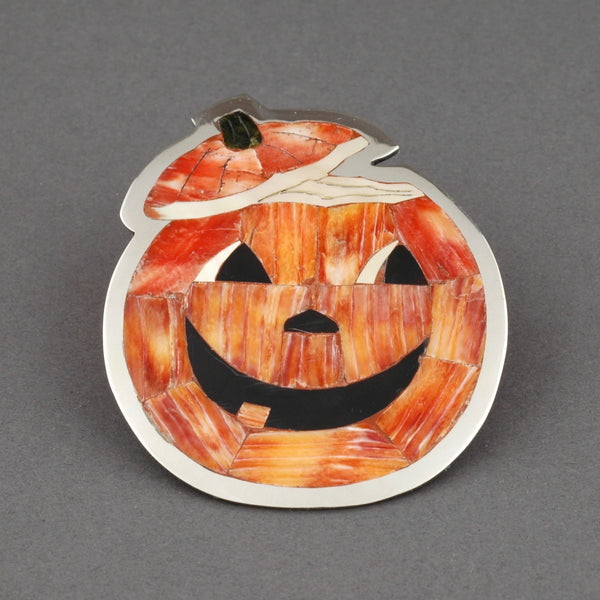 Zuni Inlay Jack-O-Lantern Brooch by Dale Edaakie