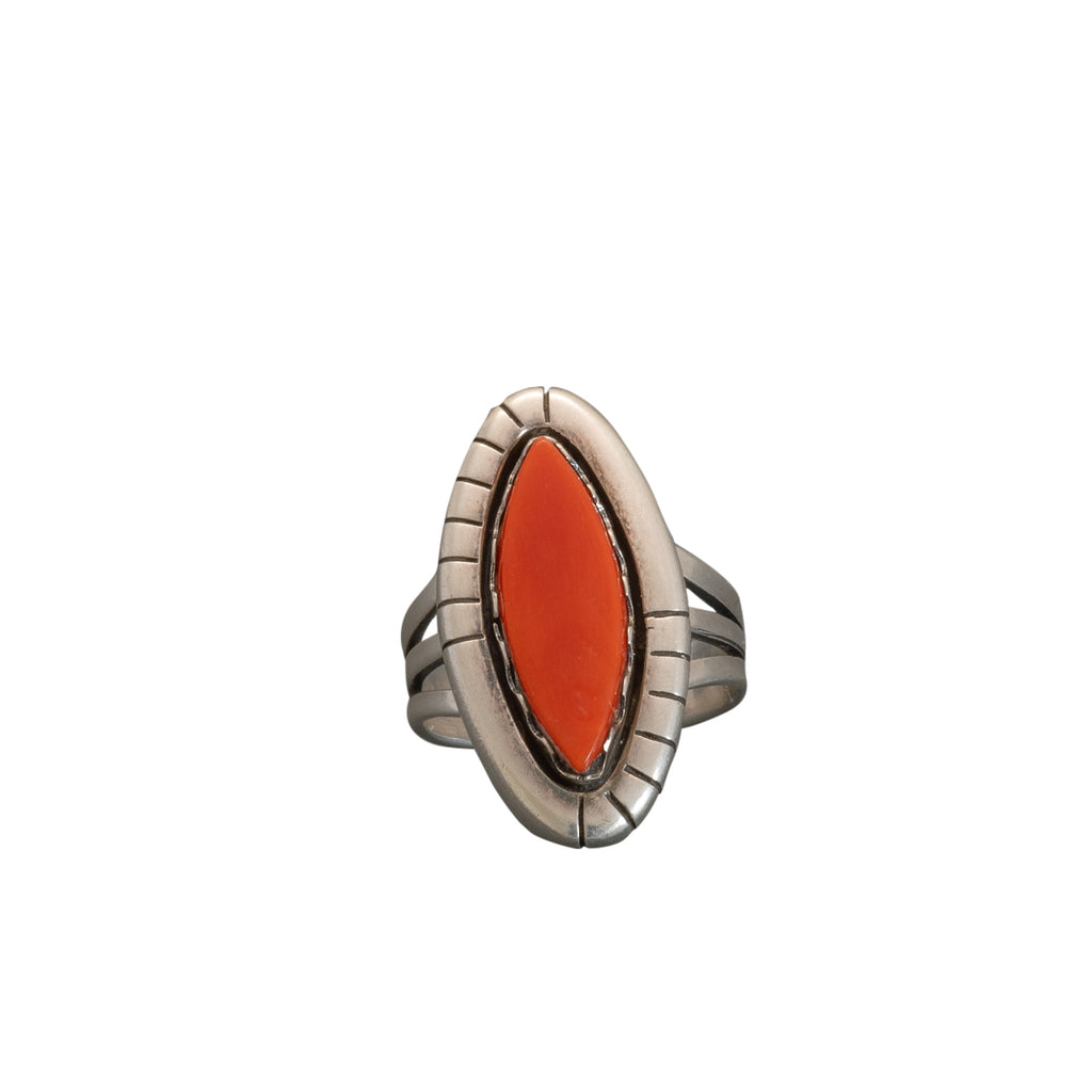 Vintage Navajo Coral Ring by Mary Marie Lincoln Yazzie