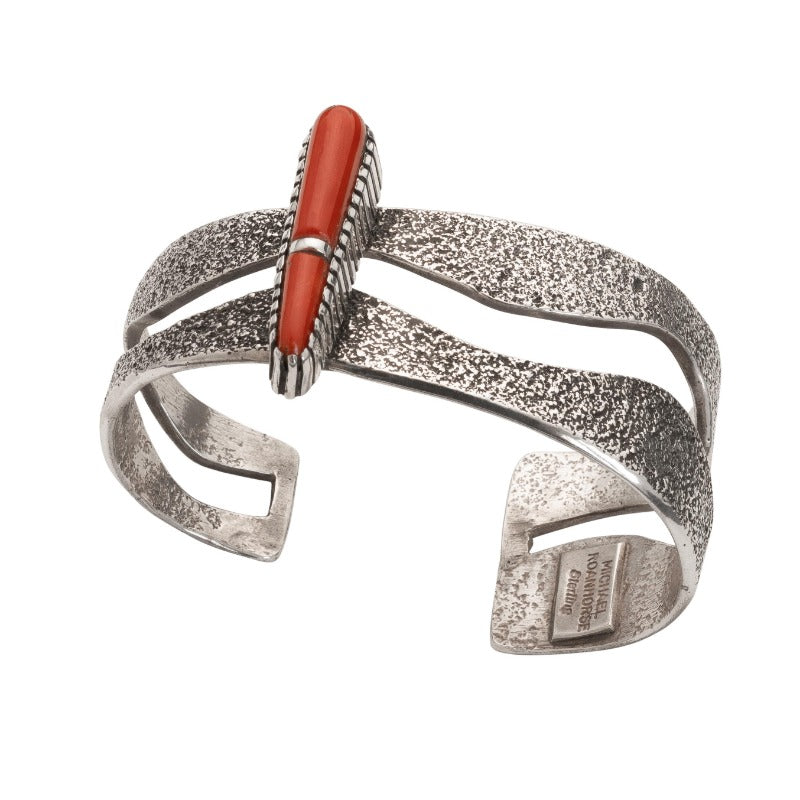 Michael Roanhorse Bracelet of Silver and Coral.jpg