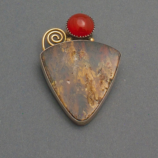 Contemporary Brooch By Mike Bird Romero of Carnelian and Agate