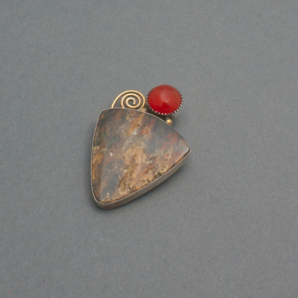 Brooch By Mike Bird Romero of Carnelian and Agate