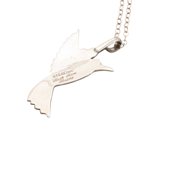 Sterling Silver Navajo Hummingbird Necklace By Ruth Ann Begay