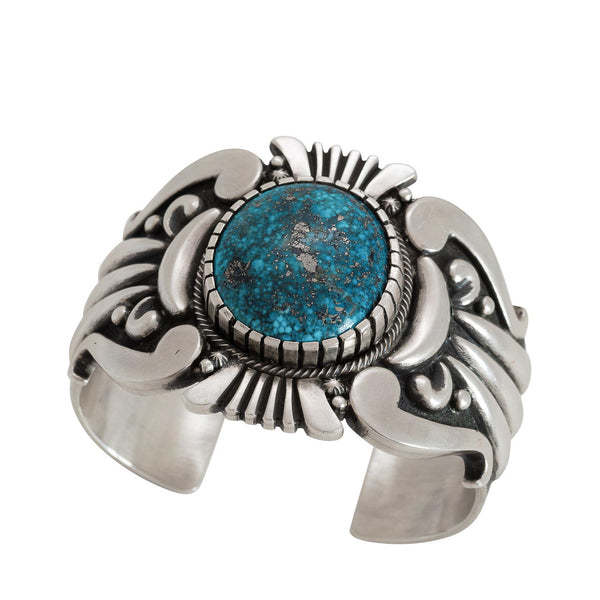 Navajo Thomas Jim Bracelet of Ithaca Peak Turquoise